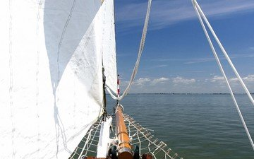 облака, море, яхта, паруса