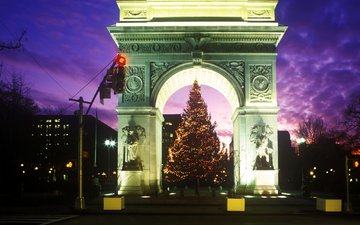 ночь, елка, города, америка, нью-йорк, арка, страны, washington square park, манхэттен, и, гринвич-виллидж