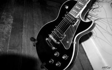стиль, гитара, чёрно-белое, гриф, струны, инструмент, корпус, музыкальный