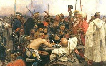 picture, ilya repin, the cossacks writing letter to turkish sultan