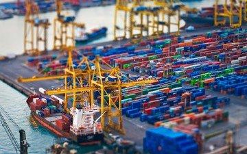 корабли, город, ситуация, работа, порт, разгрузка, контейнеры