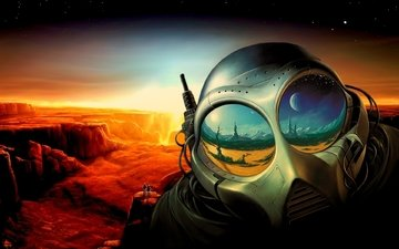 отражение, планета, шлем, костюм