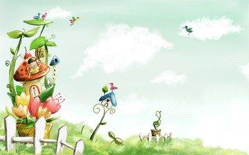 рисунок, облака, краски, забор, птицы, домик, детство, акварель