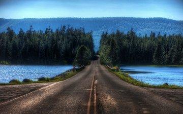 дорога, озеро, лес, переправа, блюр