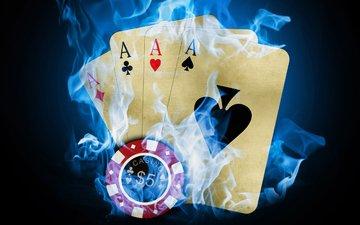 казино, покер, карты, огонь, фишка