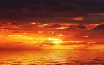 закат, море, горизонт