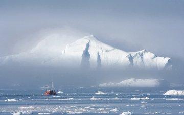 айсберг, льдины, судно