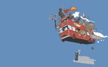 робот, осьминог, автобус, остановка, ожидание