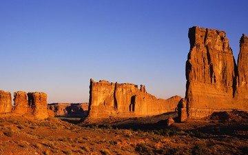 небо, скалы, пейзаж, песок, пустыня, наскальные