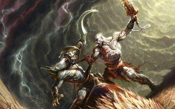 кровь, монстр, бой, сражение, бог войны, кратос