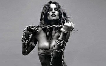 girl, model, chain, photoshoot