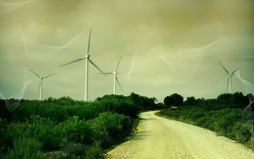 road, grass, line, windmills, wind turbine