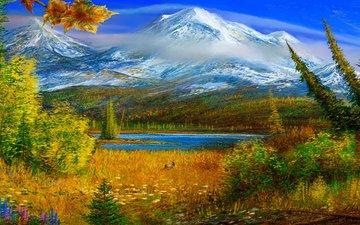 горы, картина, осень, аляска