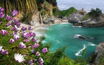 скалы, природа, море, водопад, лагуна