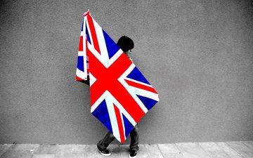 обои, девушка, стена, флаг, britain flag, gевочка