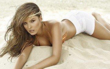 девушка, песок, пляж, модель, ветер, загар
