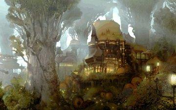 арт, фонари, лес, дома, древность, замки, gridania, чертоги, тропинки