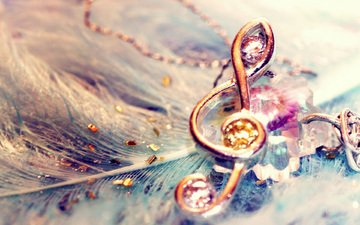 макро, ключ, перья, скрипичный