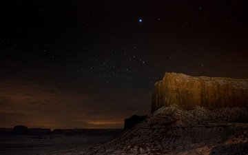 night, rock, stars, desert, canyon