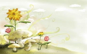 цветы, рисунок, детство, акварель