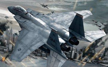 самолет, война, город, истребитель, ace combat 6