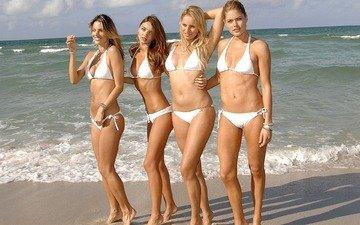 пляж, девушки, модели, виктория сикрет
