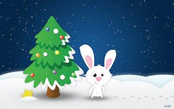 снег, новый год, елка, звезда, кролик, заяц