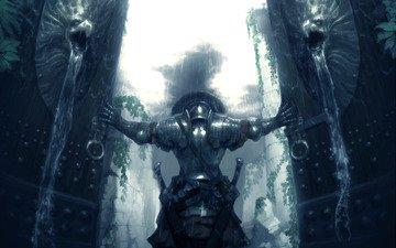 воин, оружие, ворота, дождь, мечи, доспехи, сильный