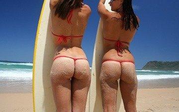 волны, доска, девушки, попа, океан, серфинг, стринги, бикини