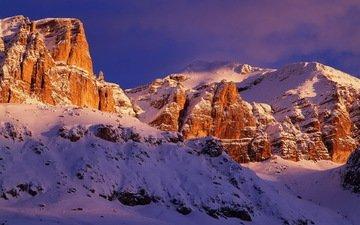 небо, горы, снег