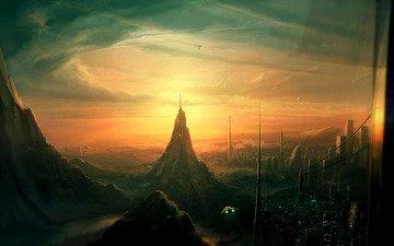 корабли, фантастика, город, мир, космические, будущего