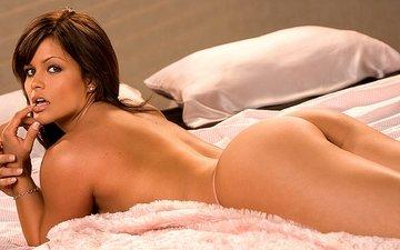 brunette, ass, bed, nude