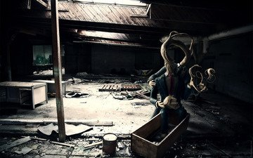 свет, монстр, разруха, комната