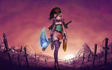 девушка, меч, muramasa, momohime