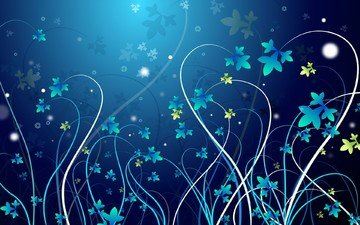 цветы, вектор, узор