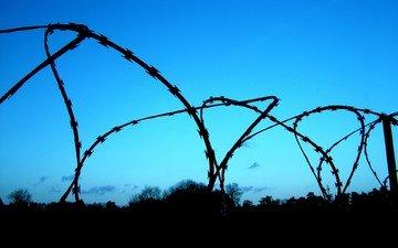 небо, забор, решетка