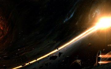 звезды, корабль, планеты, галактика, астероиды, черная, шлейф, огненный, дыра