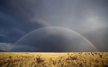 небо, трава, облака, радуга, нью-мексико