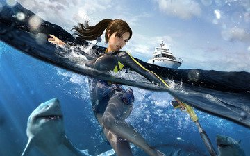 вода, яхта, акула, лара крофт, tomb raider underworld