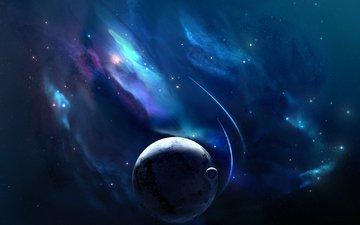 космос, планеты, nebulae, planets, космическая, spacecrafts, звезд