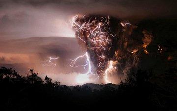 ночь, дым, молнии, извержение, вулкан, chaiten, чили