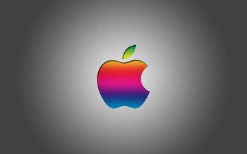 фон, серый, логотип, эппл