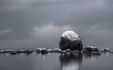 камни, море, серый