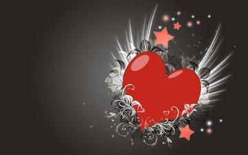 узор, серый, сердце, любовь