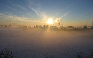 солнце, снег, зима, туман, деревня, дым