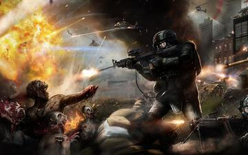 weapons, tank, soldiers, helicopter, the explosion, zombies. battle