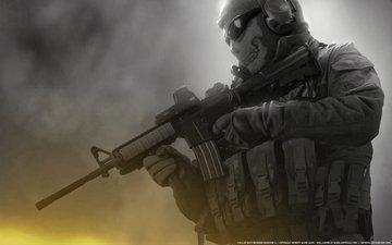 очки, modern warfare 2, солдат, call of duty, череп, автомат, разгрузка, м16, балаклава, призрак