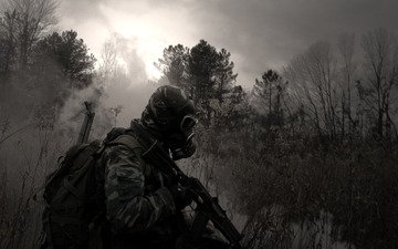 grass, forest, swamp, camouflage, machine, backpack, gas mask, stalker, kalashnikov