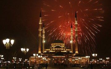 салют, праздник, мечеть, грозный, чечня