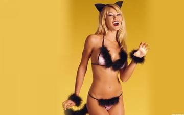 girl, blonde, cat, the game, ears, feathers, fluff, moore